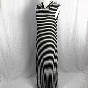 Sleeveless Striped Maxi Dress w/ Hood